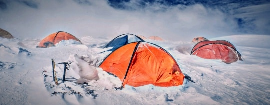 Multiple Cold Weather Tents In Snow 1